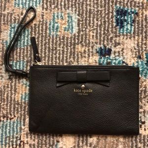 Kate Spade black wristlet with bow